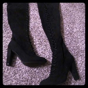 Black Lace Up Knee High Boots NEW Never Worn
